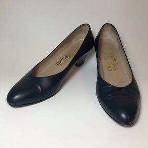 Salvatore Ferragamo Navy Leather Kitten Heels- 8